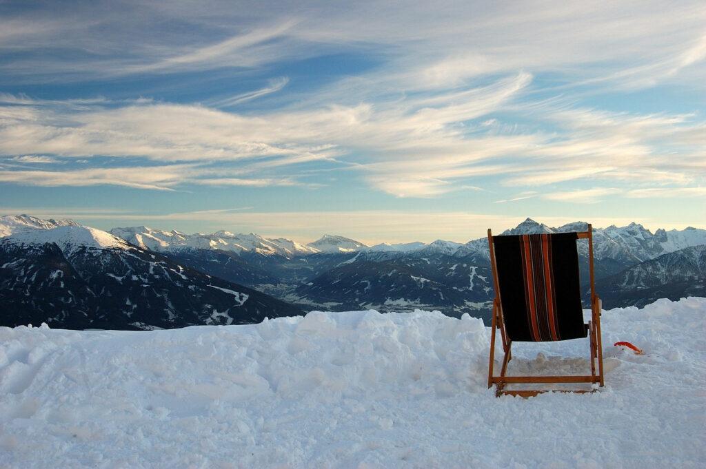 mountain snow deck chair